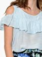 Fashion Friends Fashion Friends Kolları Volanlı Omuzları Açık Günlük  Kadın Bluz Mavi